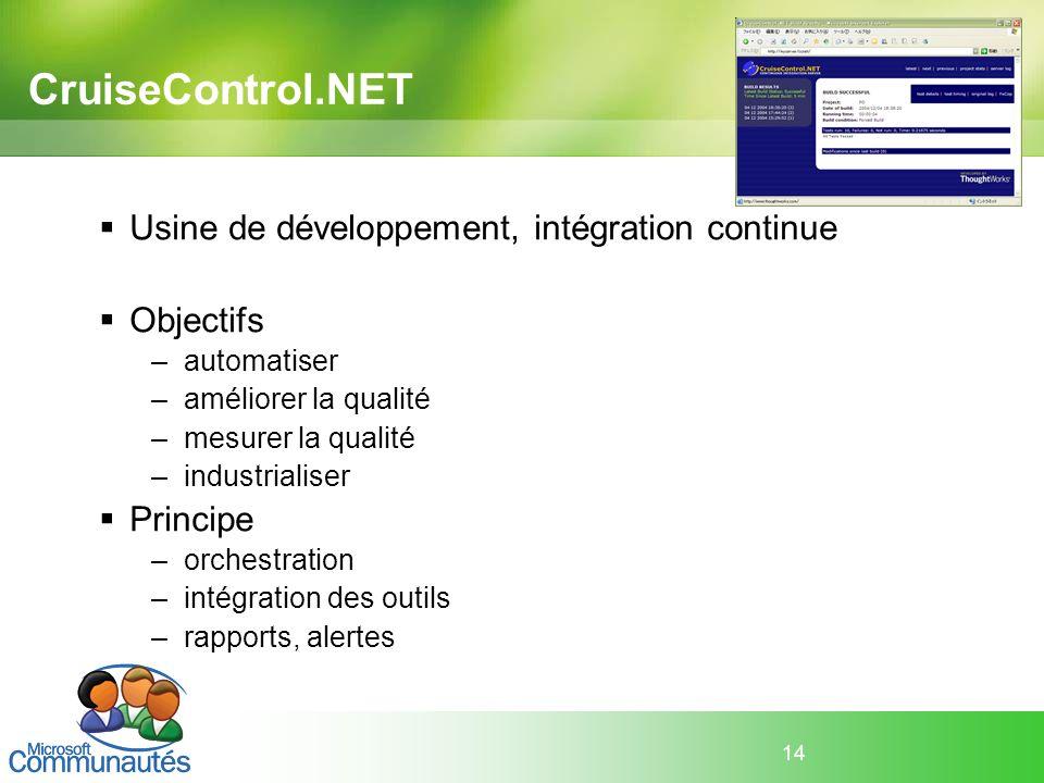 CruiseControl.NET Usine de développement, intégration continue