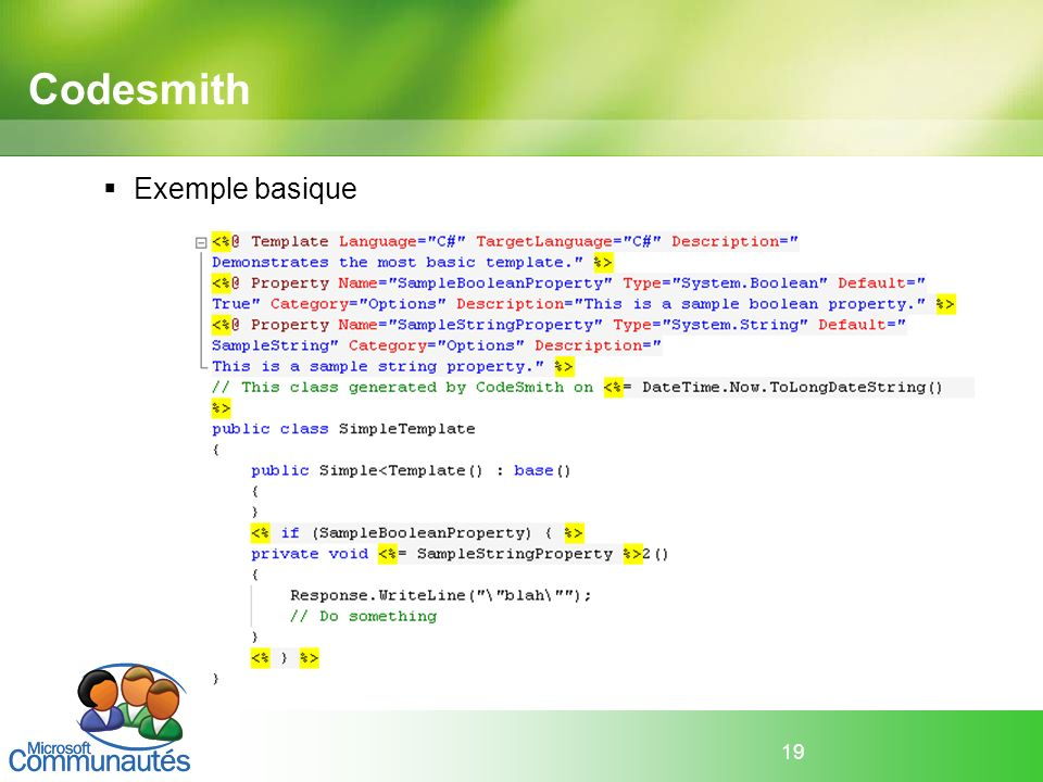 Codesmith Exemple basique