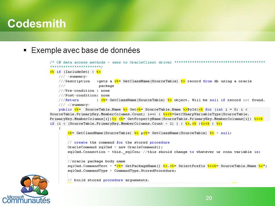 Codesmith Exemple avec base de données