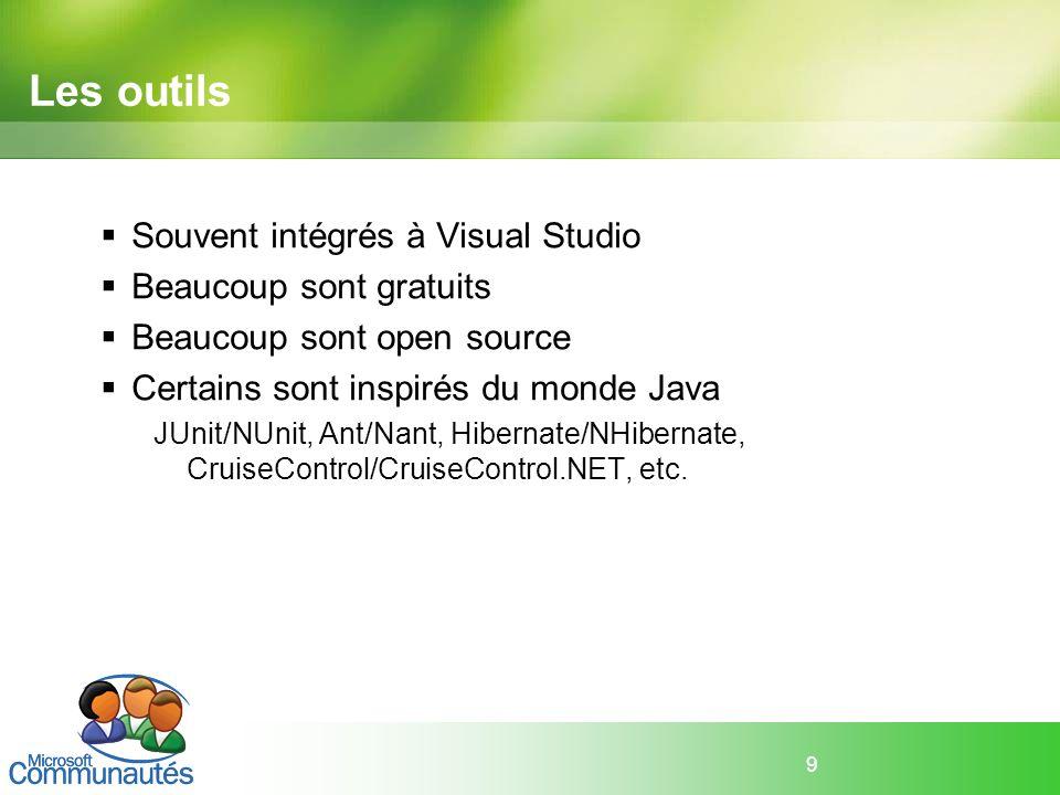 Les outils Souvent intégrés à Visual Studio Beaucoup sont gratuits