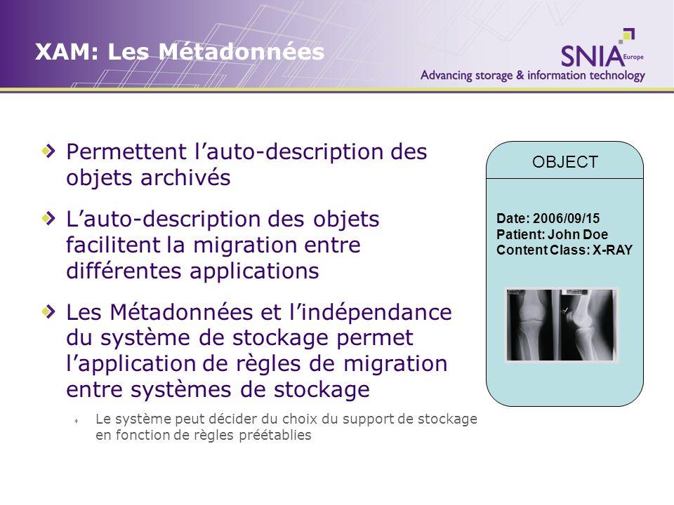 XAM: Les Métadonnées Permettent l'auto-description des objets archivés