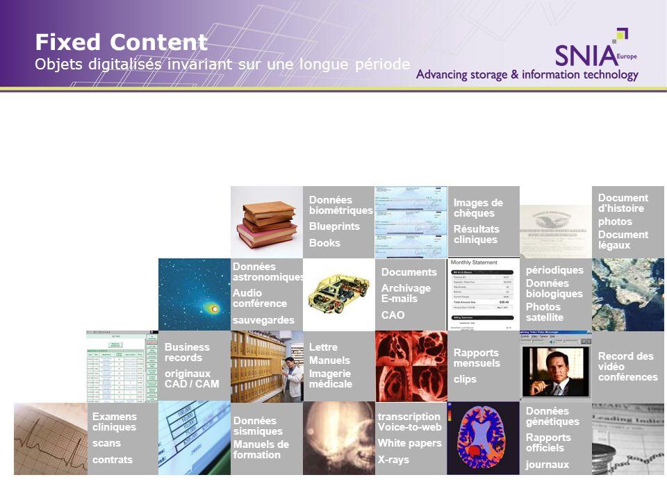 Fixed Content Objets digitalisés invariant sur une longue période