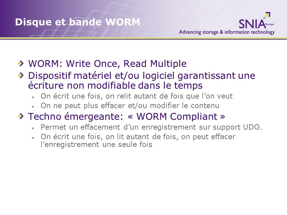 Disque et bande WORM WORM: Write Once, Read Multiple