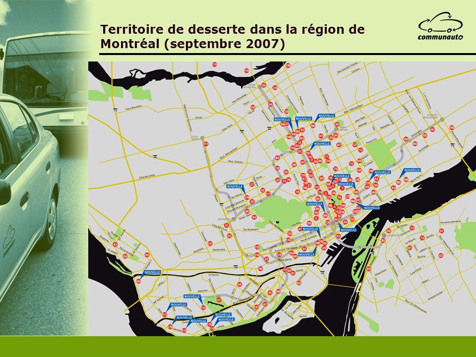 Territoire de desserte dans la région de Montréal (septembre 2007)