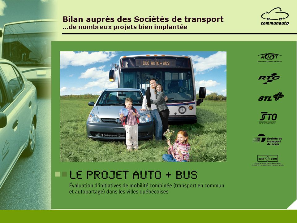 Bilan auprès des Sociétés de transport …de nombreux projets bien implantée