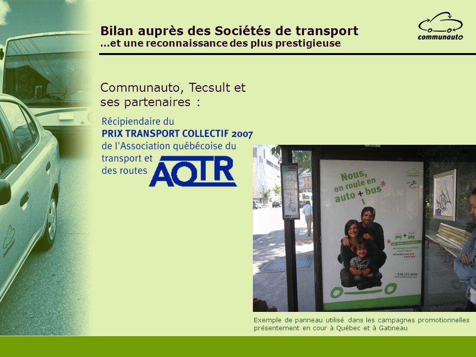 Bilan auprès des Sociétés de transport …et une reconnaissance des plus prestigieuse