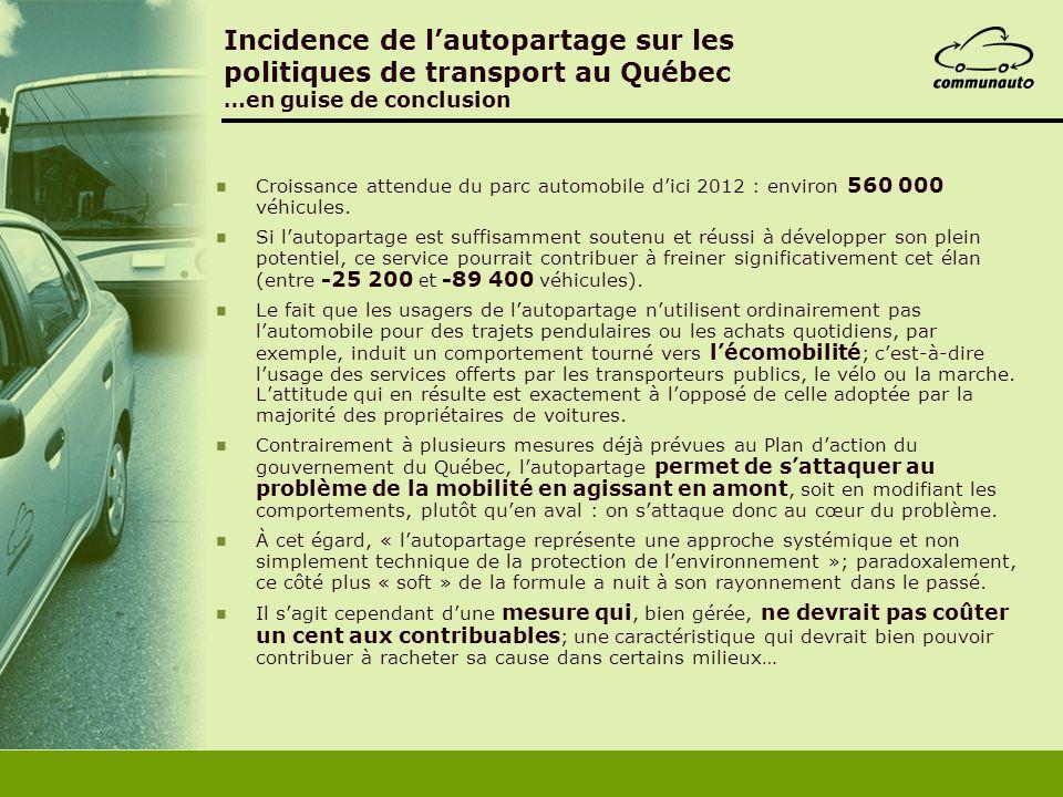 Incidence de l'autopartage sur les politiques de transport au Québec …en guise de conclusion