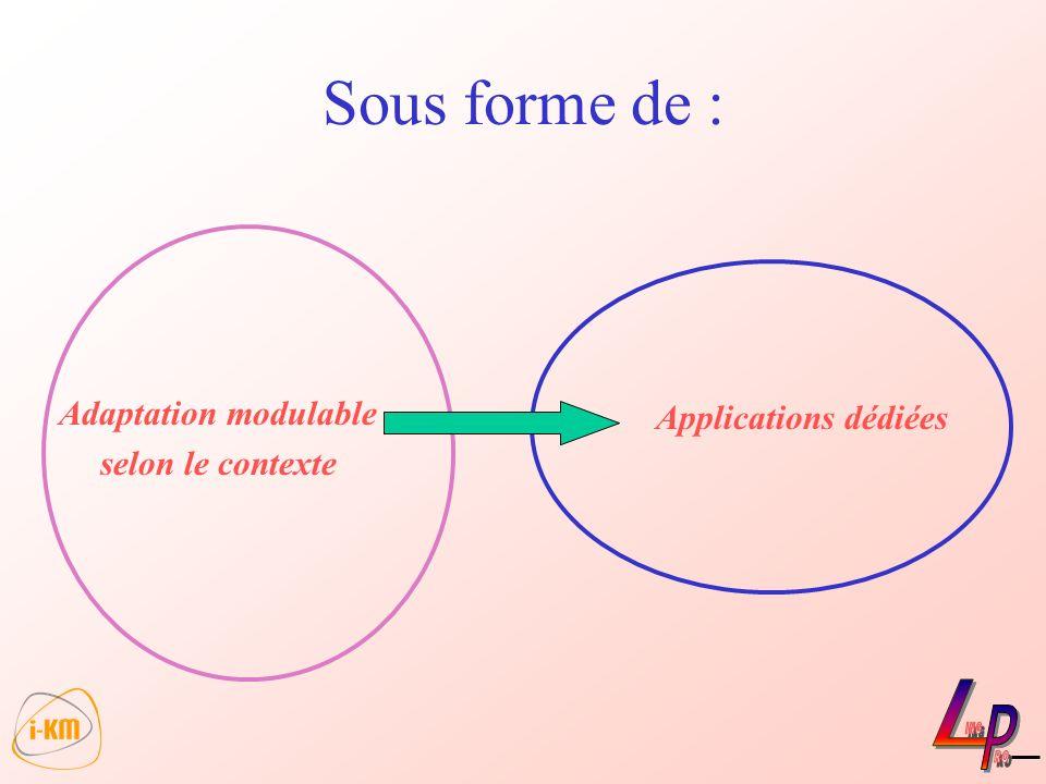 Sous forme de : Applications dédiées Adaptation modulable