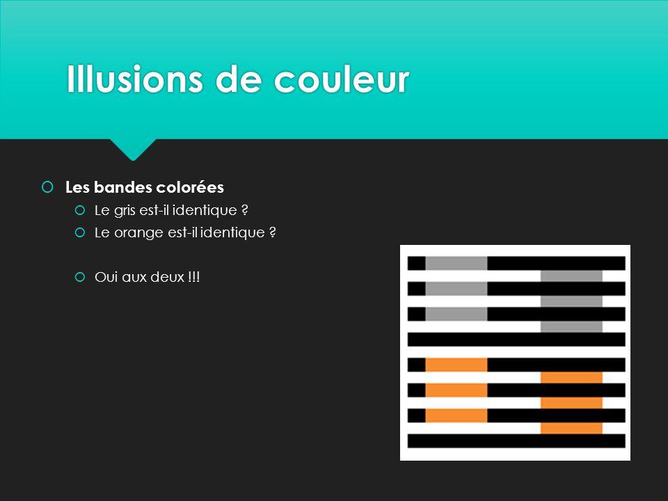 Illusions de couleur Les bandes colorées Le gris est-il identique