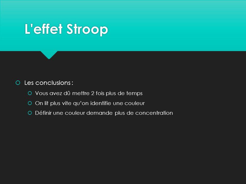 L effet Stroop Les conclusions :