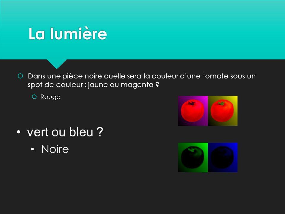 La lumière vert ou bleu Noire
