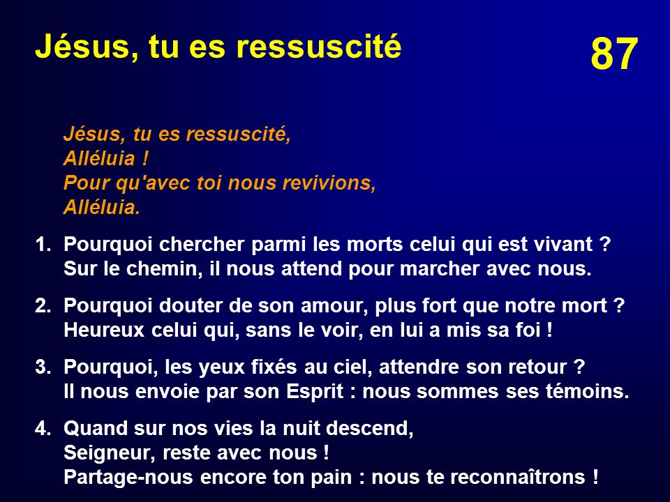 Jésus, tu es ressuscité Jésus, tu es ressuscité, Alléluia ! Pour qu avec toi nous revivions, Alléluia.