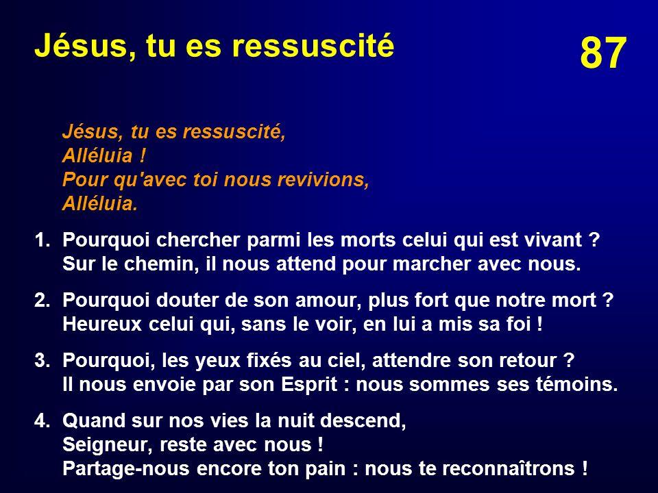 Jésus, tu es ressuscitéJésus, tu es ressuscité, Alléluia ! Pour qu avec toi nous revivions, Alléluia.