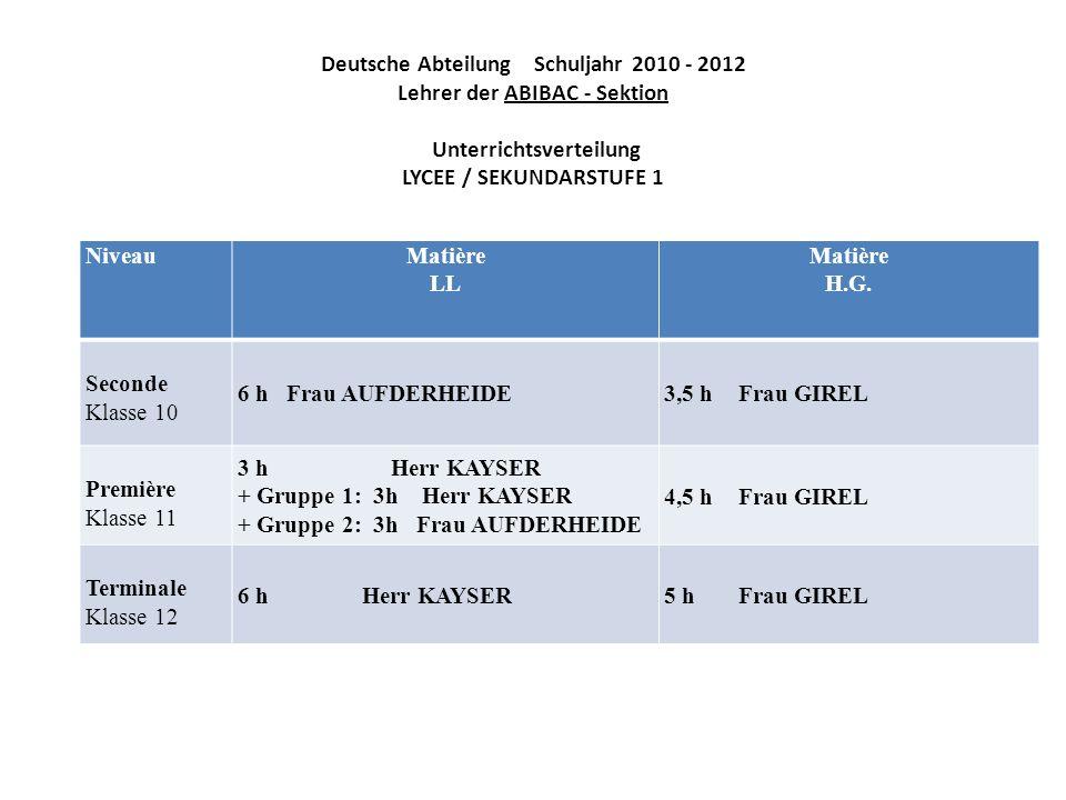 Deutsche Abteilung Schuljahr 2010 - 2012 Lehrer der ABIBAC - Sektion Unterrichtsverteilung LYCEE / SEKUNDARSTUFE 1