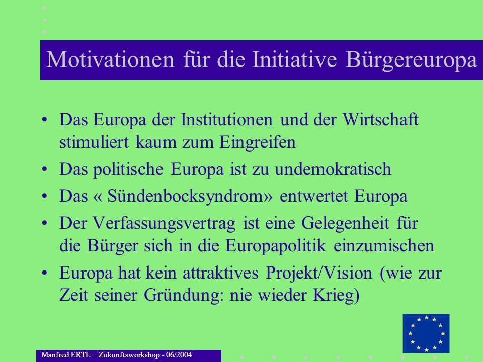 Motivationen für die Initiative Bürgereuropa