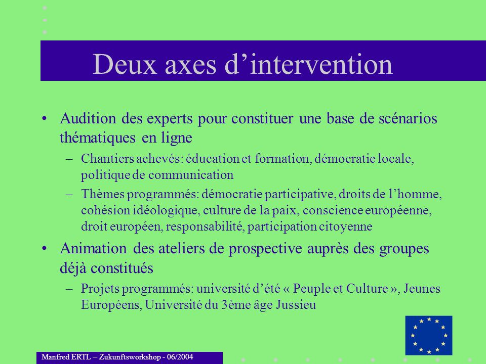 Deux axes d'intervention