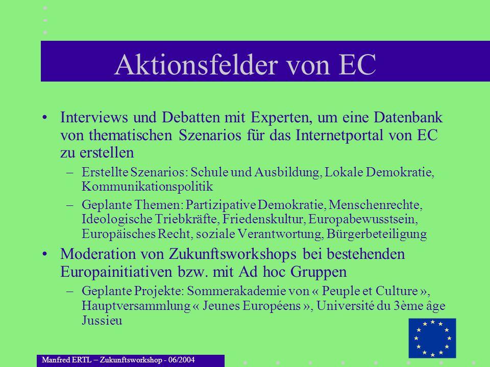 Aktionsfelder von EC Interviews und Debatten mit Experten, um eine Datenbank von thematischen Szenarios für das Internetportal von EC zu erstellen.