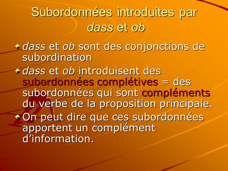Subordonnées introduites par dass et ob