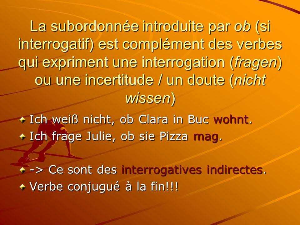 La subordonnée introduite par ob (si interrogatif) est complément des verbes qui expriment une interrogation (fragen) ou une incertitude / un doute (nicht wissen)
