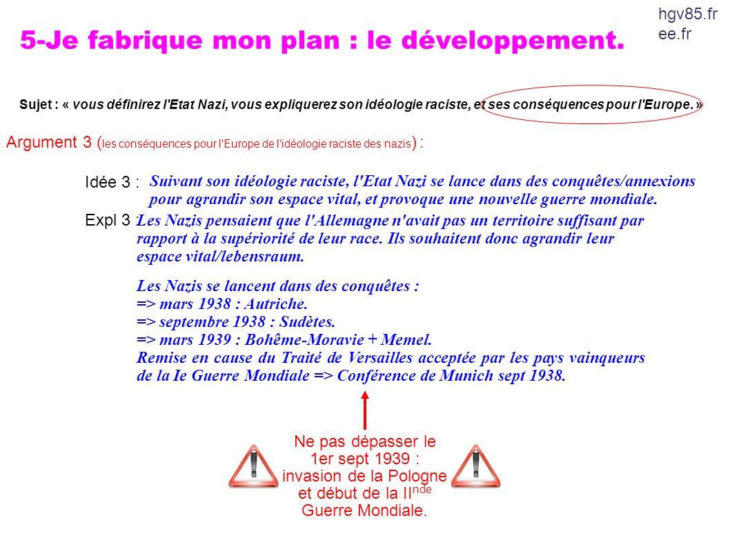 5-Je fabrique mon plan : le développement.