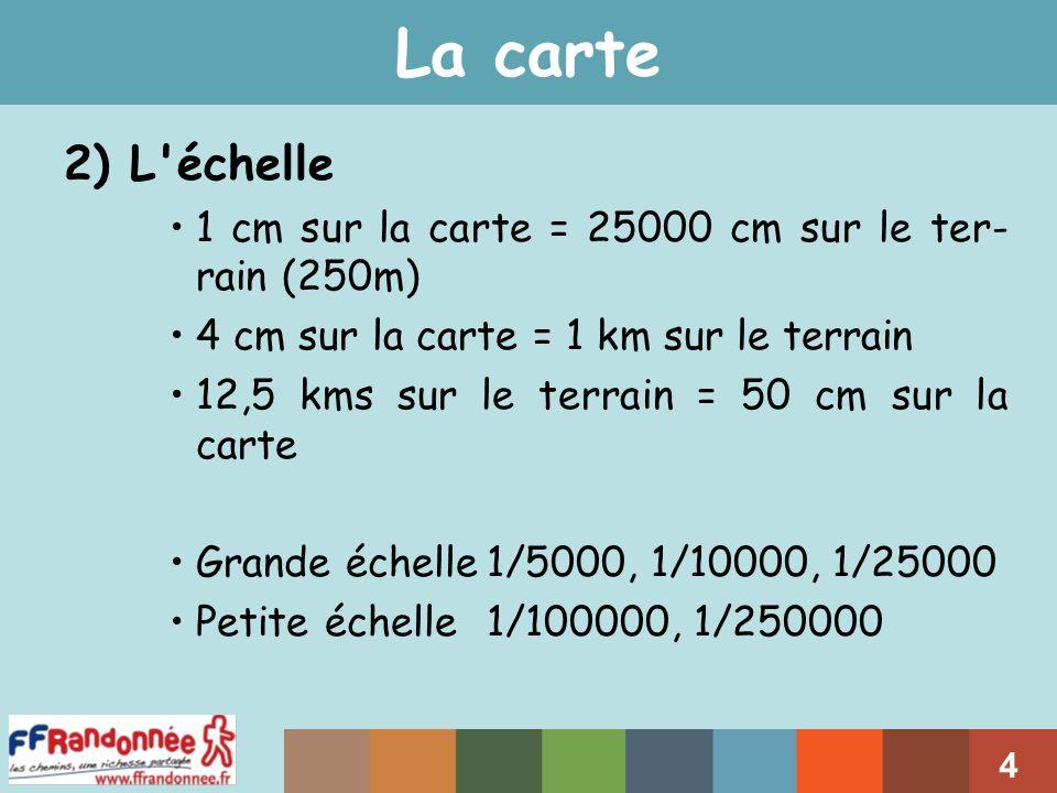 La carte 2) L échelle. 1 cm sur la carte = 25000 cm sur le ter-rain (250m) 4 cm sur la carte = 1 km sur le terrain.