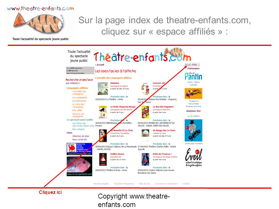 Sur la page index de theatre-enfants