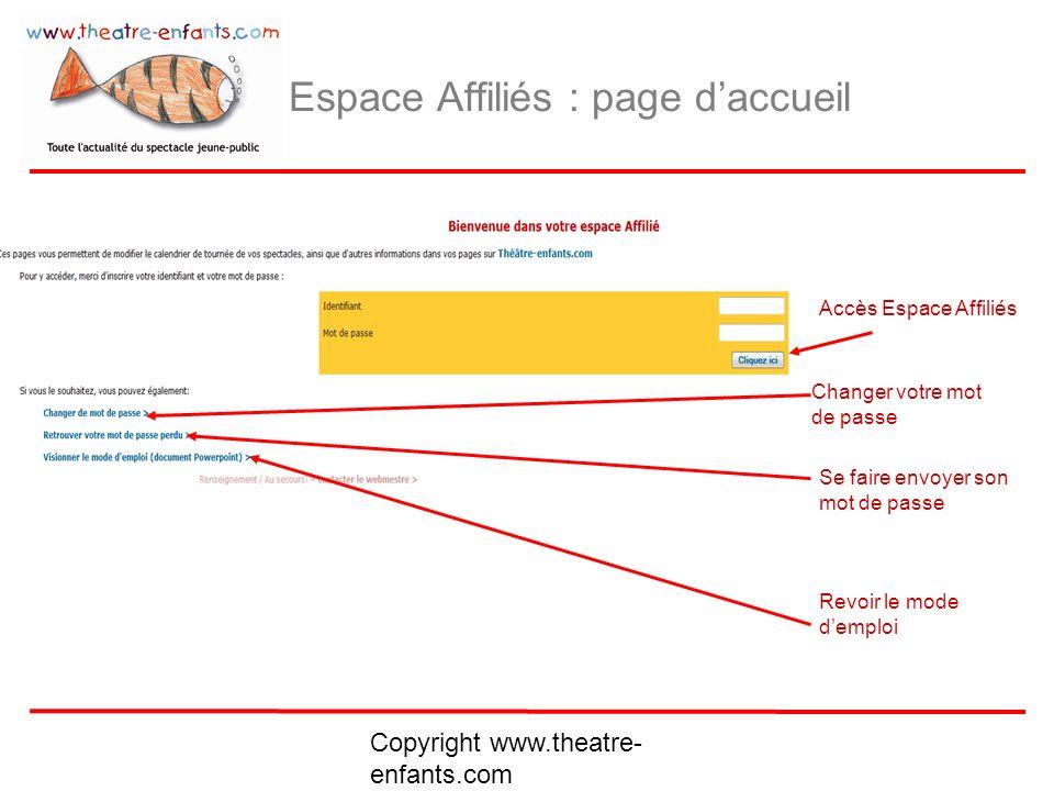 Espace Affiliés : page d'accueil