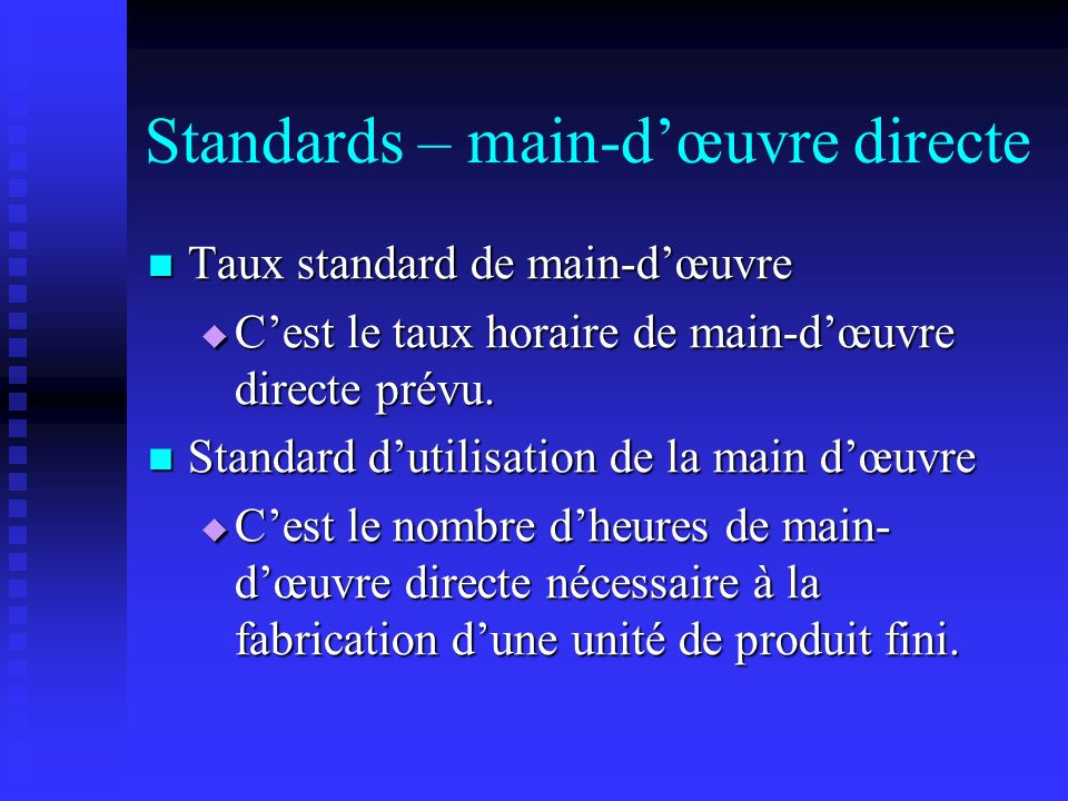 Budgets flexibles et co ts standard ppt video online for Taux horaire main d oeuvre garage