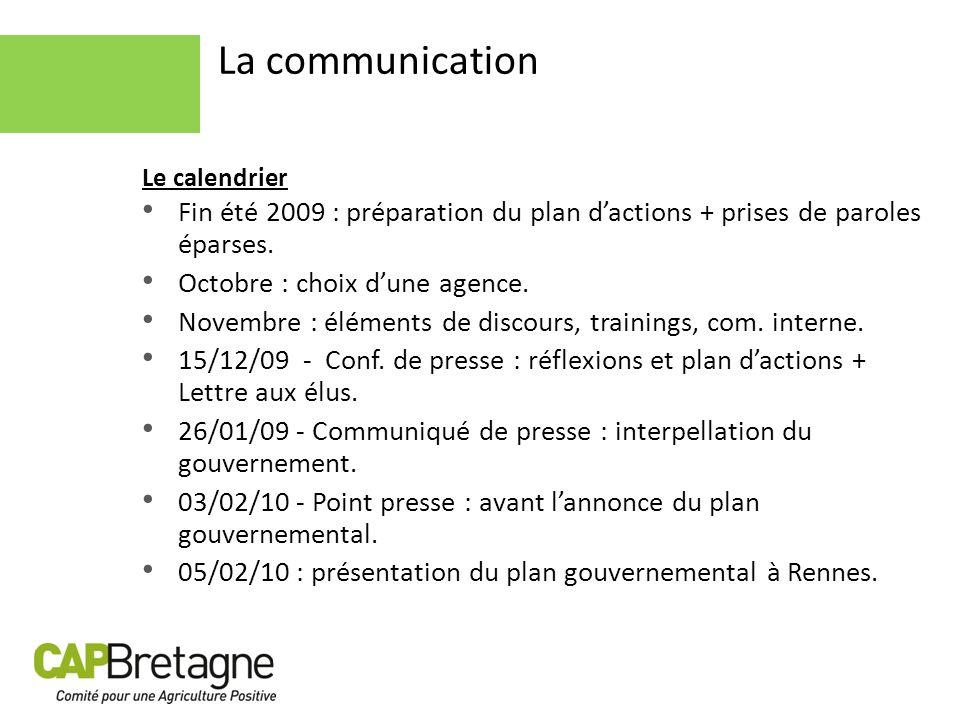 La communication Le calendrier. Fin été 2009 : préparation du plan d'actions + prises de paroles éparses.