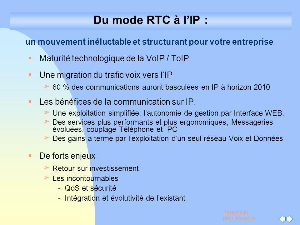22/03/2017 Du mode RTC à l'IP : un mouvement inéluctable et structurant pour votre entreprise. Maturité technologique de la VoIP / ToIP.