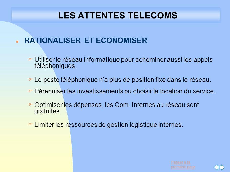 LES ATTENTES TELECOMS RATIONALISER ET ECONOMISER