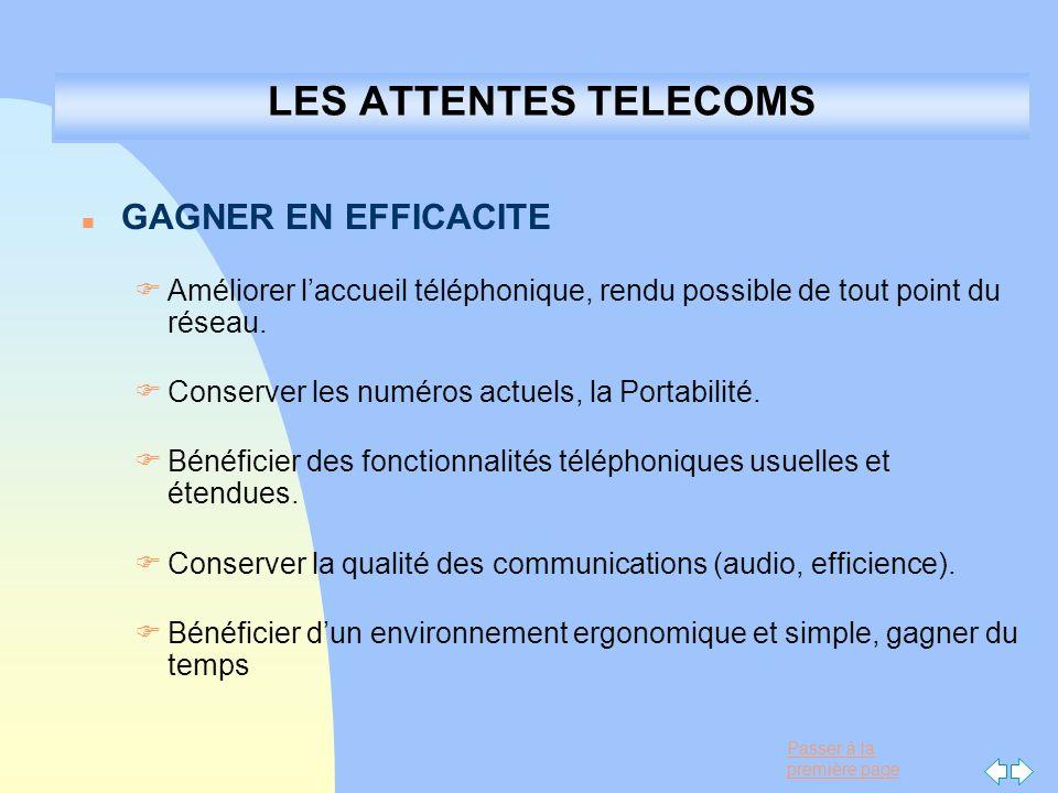 LES ATTENTES TELECOMS GAGNER EN EFFICACITE