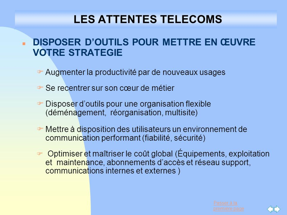 22/03/2017 LES ATTENTES TELECOMS. DISPOSER D'OUTILS POUR METTRE EN ŒUVRE VOTRE STRATEGIE. Augmenter la productivité par de nouveaux usages.