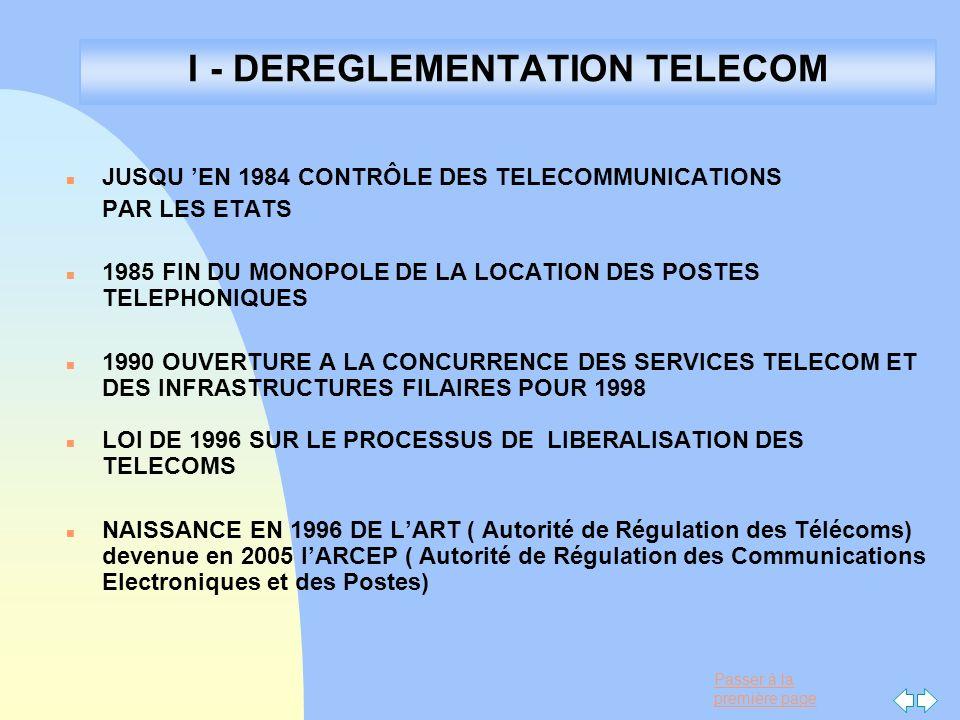I - DEREGLEMENTATION TELECOM