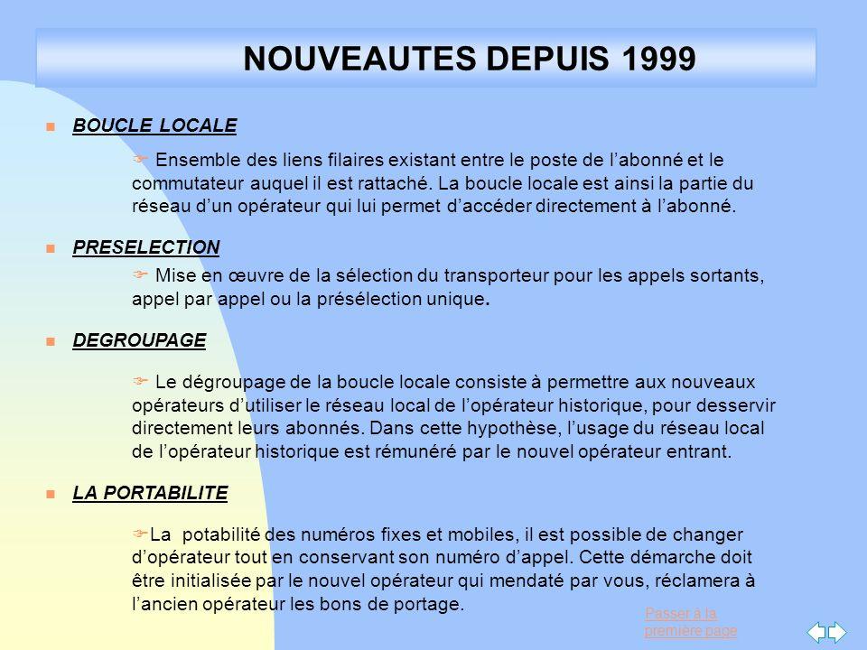 NOUVEAUTES DEPUIS 1999 BOUCLE LOCALE