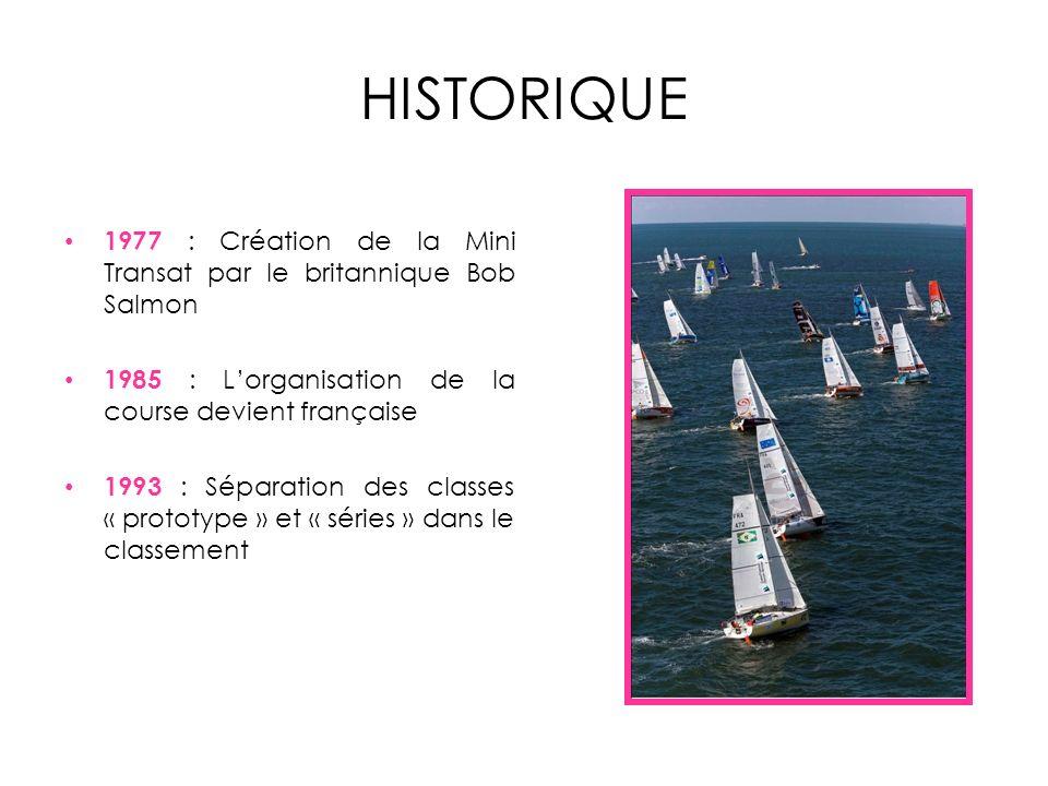 HISTORIQUE 1977 : Création de la Mini Transat par le britannique Bob Salmon. 1985 : L'organisation de la course devient française.