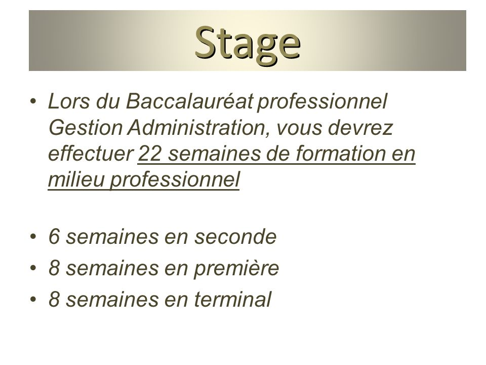 baccalaur at gestion administration ppt video online stage de gestion chambre des metiers