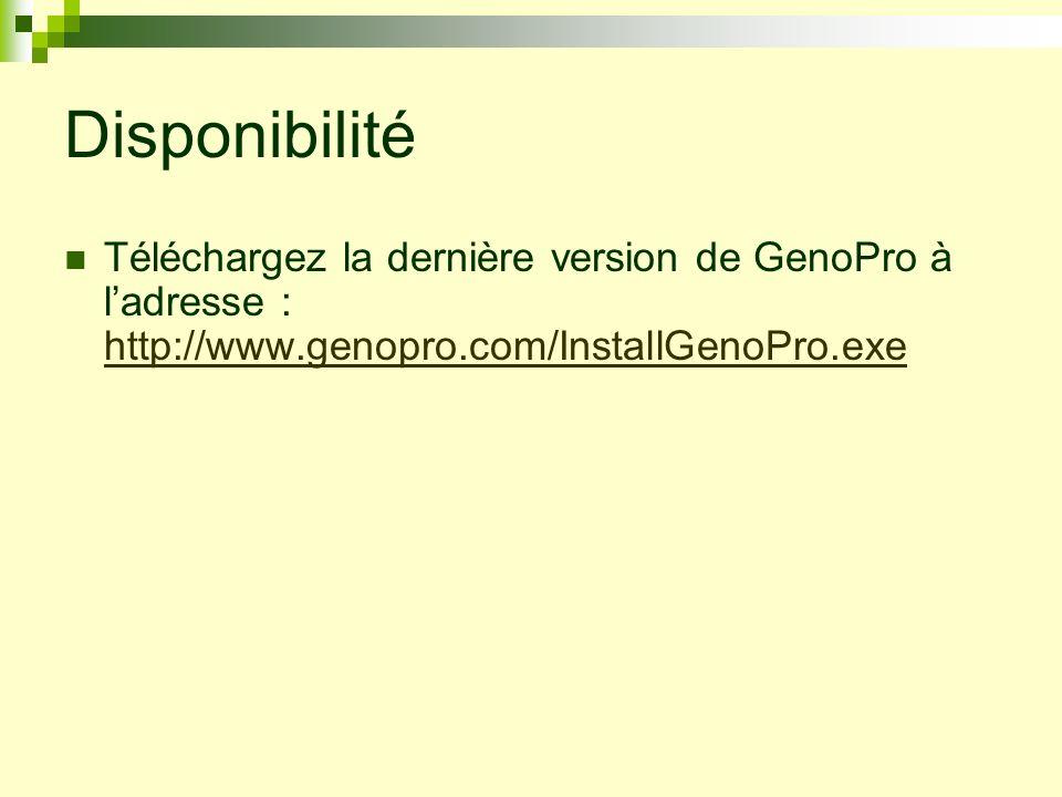 DisponibilitéTéléchargez la dernière version de GenoPro à l'adresse : http://www.genopro.com/InstallGenoPro.exe.