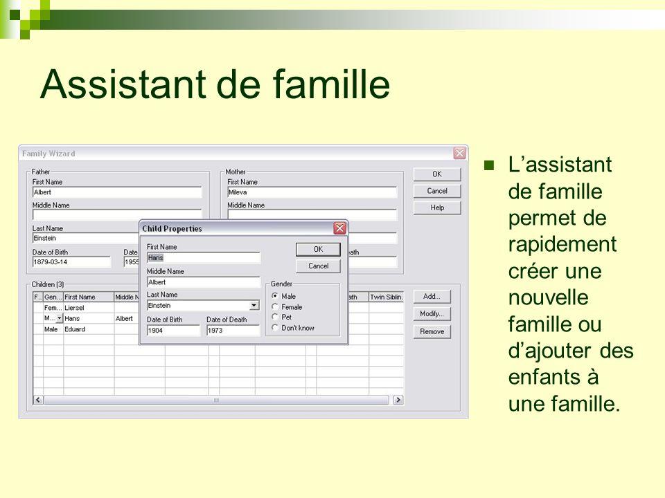 Assistant de familleL'assistant de famille permet de rapidement créer une nouvelle famille ou d'ajouter des enfants à une famille.