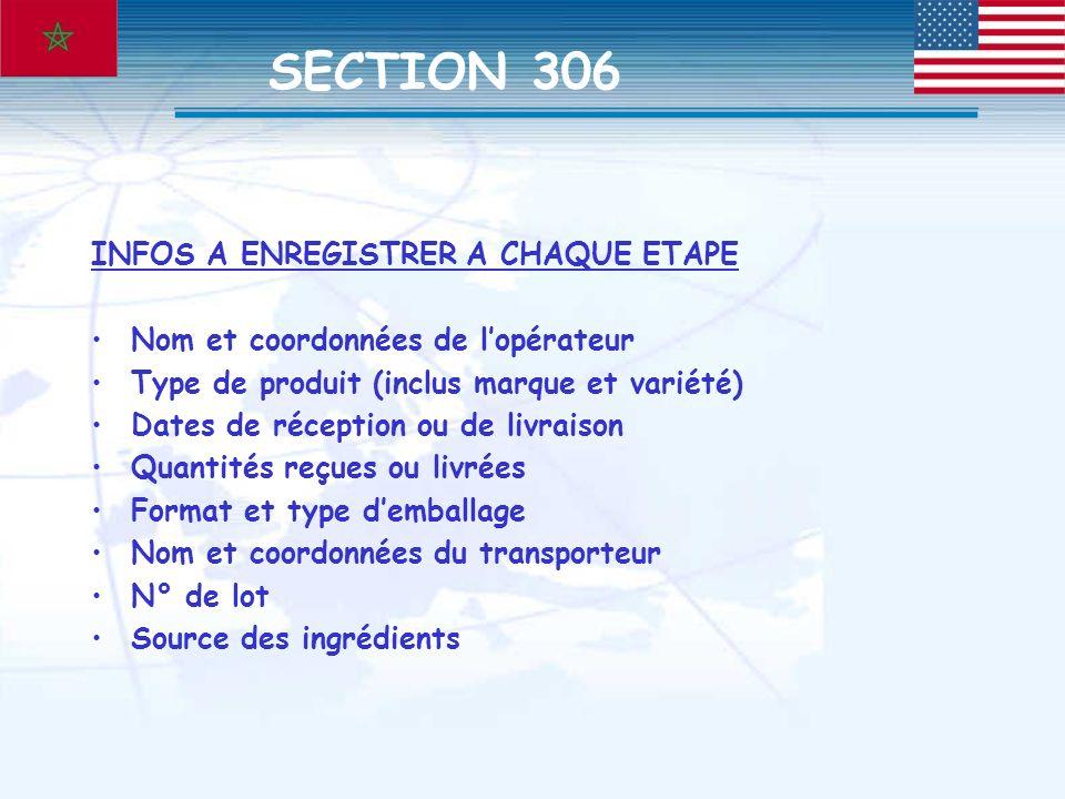 SECTION 306 INFOS A ENREGISTRER A CHAQUE ETAPE