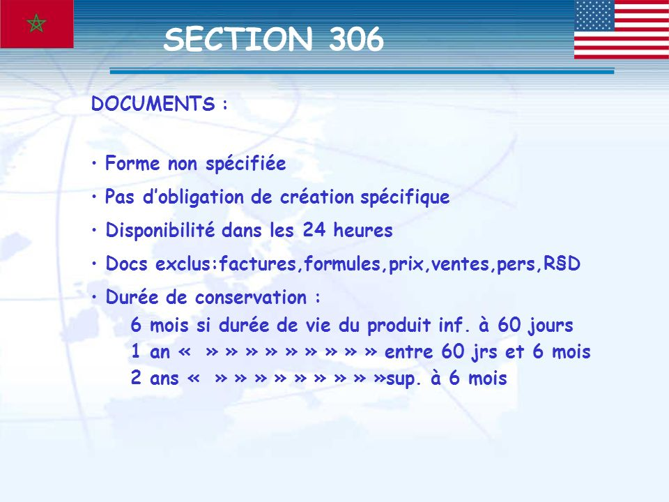 SECTION 306 DOCUMENTS : Forme non spécifiée
