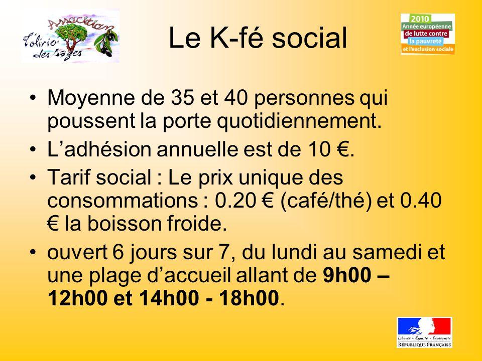 Le K-fé socialMoyenne de 35 et 40 personnes qui poussent la porte quotidiennement. L'adhésion annuelle est de 10 €.