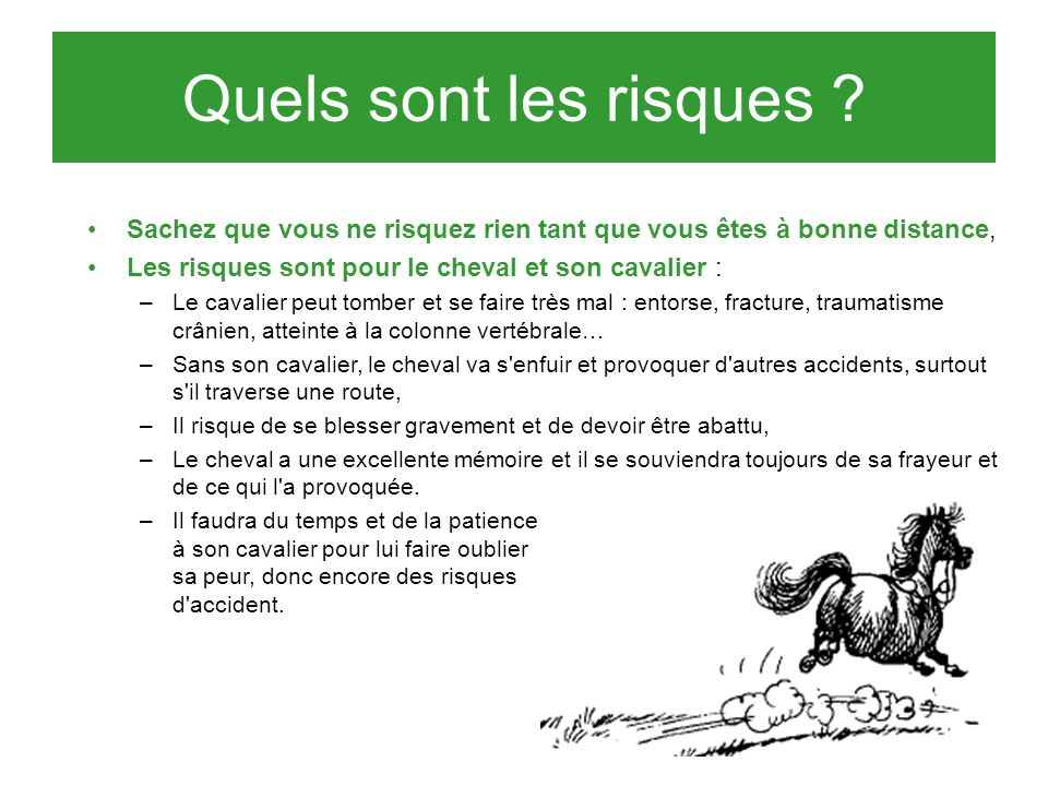 Quels sont les risques Sachez que vous ne risquez rien tant que vous êtes à bonne distance, Les risques sont pour le cheval et son cavalier :
