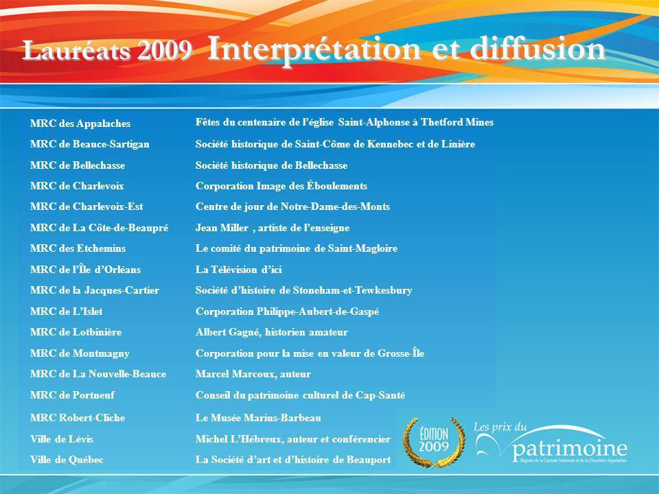 Lauréats 2009 Interprétation et diffusion