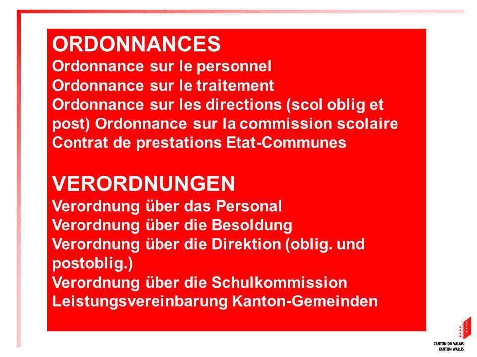 ORDONNANCES VERORDNUNGEN Ordonnance sur le personnel
