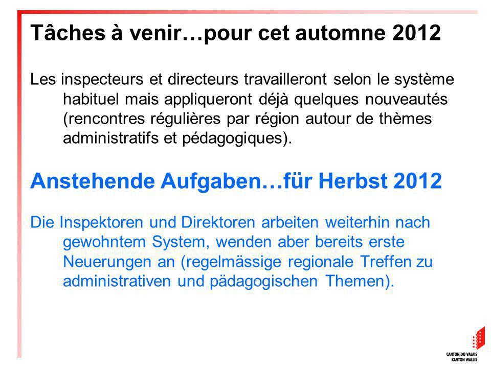 Tâches à venir…pour cet automne 2012