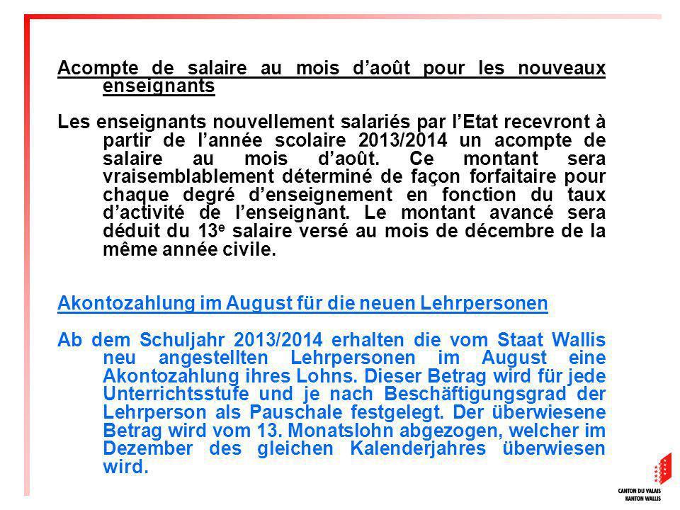 Acompte de salaire au mois d'août pour les nouveaux enseignants