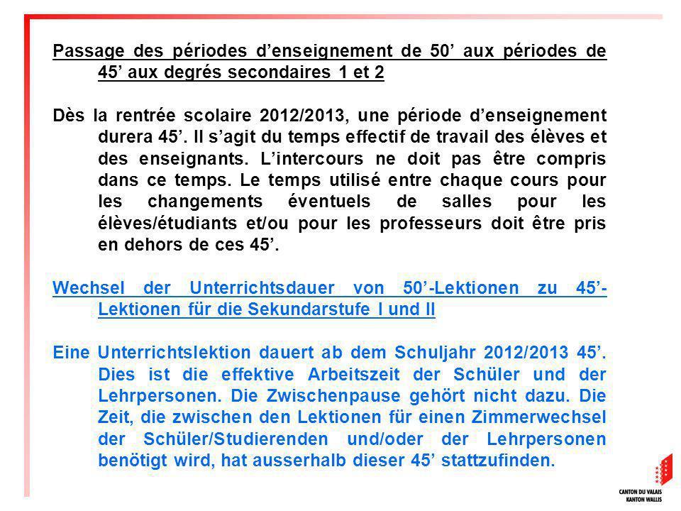Passage des périodes d'enseignement de 50' aux périodes de 45' aux degrés secondaires 1 et 2