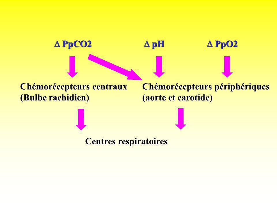  PpCO2 pH.  PpO2. Chémorécepteurs centraux. (Bulbe rachidien) Chémorécepteurs périphériques. (aorte et carotide)