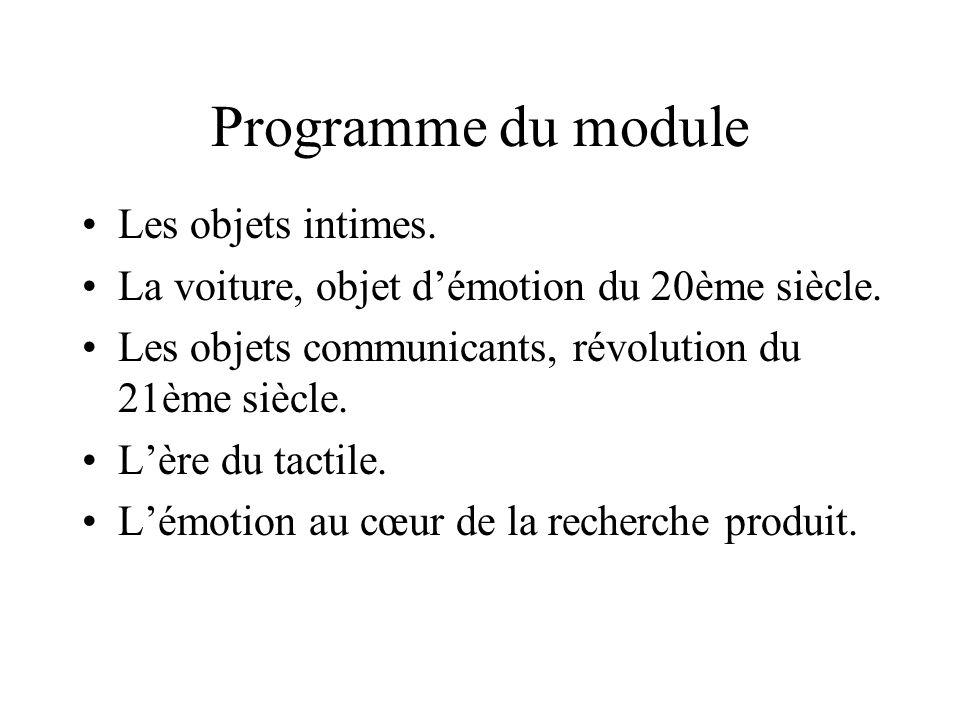 Programme du module Les objets intimes.